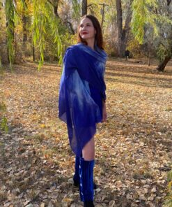 Gazell Shawl Cloud Wings Blue Eco Friendy Modal - photo art by Gail Russell