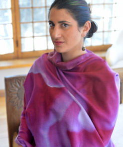 Gazelle Shawl - Magenta Edge - in Cashmere and Silk Blend by Gail Russell Art & Apparel, Taos, New Mexico