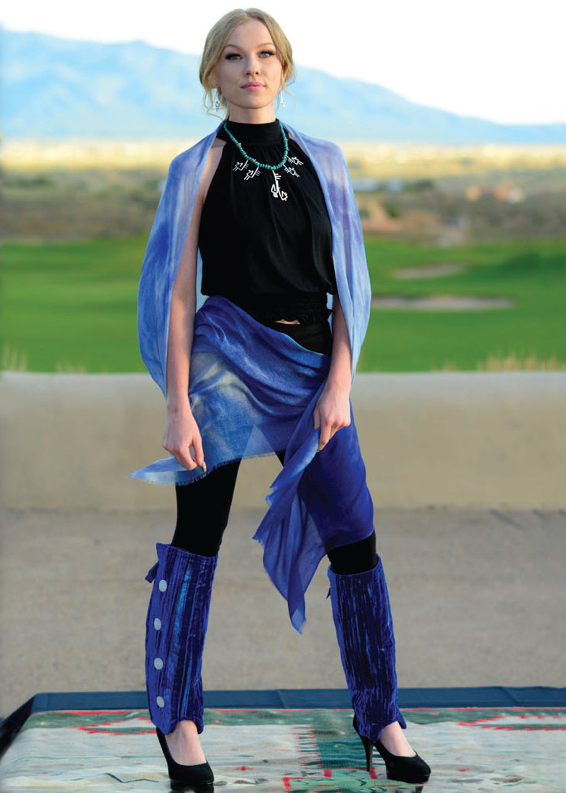 Gazelle Shawls - Cloud Wings Blue - by Gail Russell Art & Apparel, Taos, New Mexico