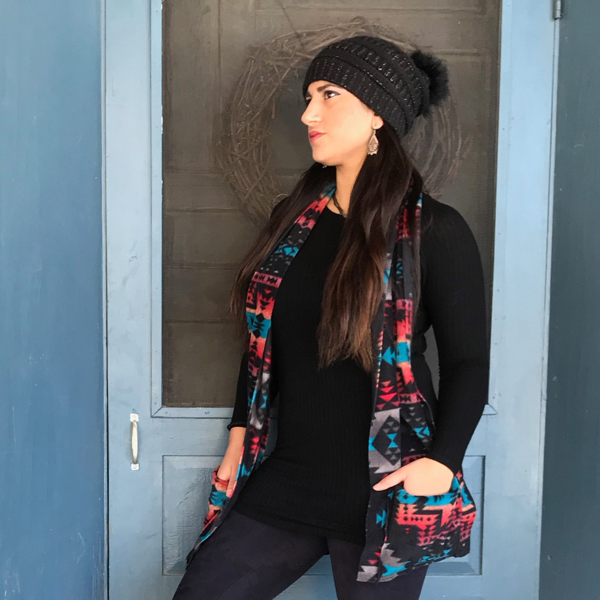 KangarooGirls™ Black Canyon Southwestern Style Fleece Scarf by Gail Russell Art & Apparel, Taos, New Mexico