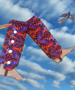 SallyGators® Leg Warmers in Aztec Dancer Patterned Cotton by Gail Russell Art & Apparel, Taos, New Mexico