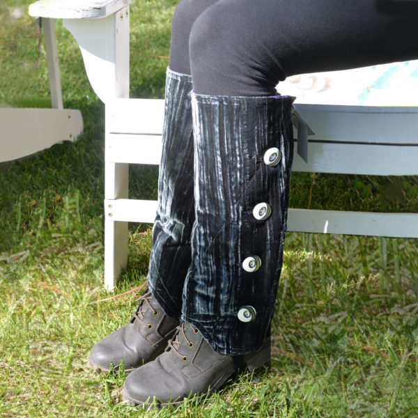 SallyGators® Leg Warmers in Graphite Velvet by Gail Russell Art & Apparel, Taos, New Mexico