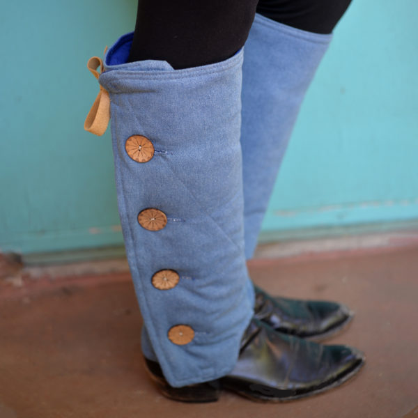 SallyGators® Leg Warmers in Sandwashed Blue Denim by Gail Russell Art & Apparel, Taos, New Mexico