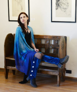 Gazelle Shawl - Cloud Wings Blue - by Gail Russell Art & Apparel, Taos, New Mexico