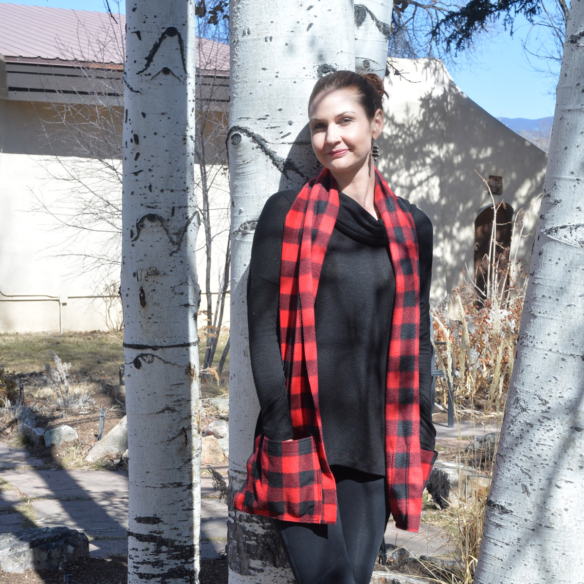 KangarooGirls™ Red Buffalo Plaid Fleece Pocket Scarf © Gail Russell Art & Apparel, Taos, New Mexico