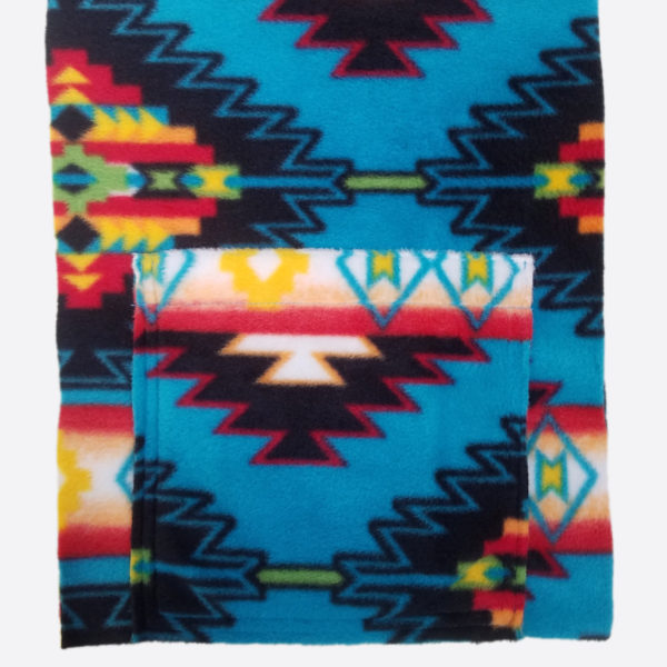 Kangaroo Girls™ Turquoise Blanket Southwestern Style Scarf in Fleece by Gail Russell Art & Apparel, Taos, New Mexico
