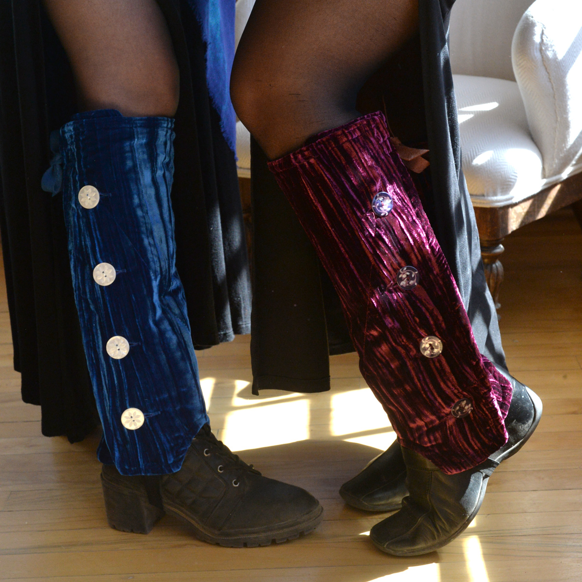 SallyGators® Leg Warmers in Chianti Velvet by Gail Russell Art & Apparel, Taos, New Mexico