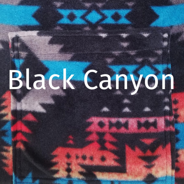SallyGators® Leg Warmers in Black Canyon Southwestern Fleece by Gail Russell Art & Apparel, Taos, New Mexico