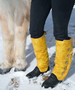 SallyGators® Leg Warmers in Yellow Doeskin Patterned Cotton by Gail Russell Art & Apparel, Taos, New Mexico