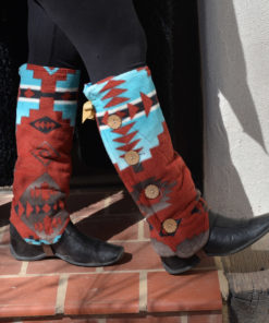 SallyGators® Leg Warmers in Cody Copper Southwestern Fleece by Gail Russell Art & Apparel, Taos, New Mexico