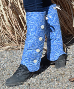 SallyGators® Leg Warmers in Blue Dryad Patterned Cotton by Gail Russell Art & Apparel, Taos, New Mexico