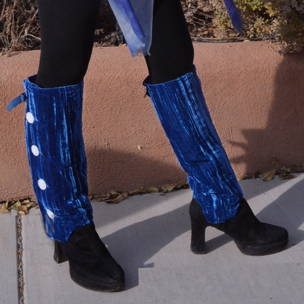 Leg Warmers by SallyGators™ - Sapphire Blue Velvet copyright Gail Russell